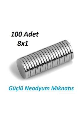 Dünya Magnet 100 Adet Çap 8mm X Kalınlık 1mm Yuvarlak Süper Güçlü Neodyum Mıknatıs 3