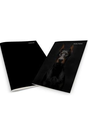 Pelikan Yayınları Black Doberman Dog On A Black Background Weekly Planner & Notebook 0