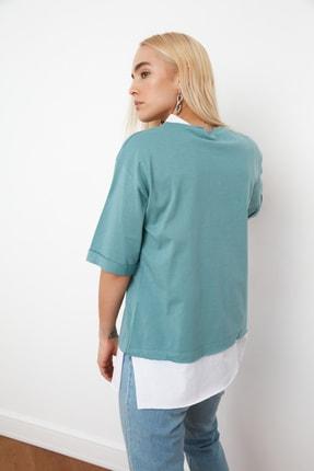 TRENDYOLMİLLA Mint Süprem Parça Detaylı Boyfriend Örme T-Shirt TWOSS20TS0858 1