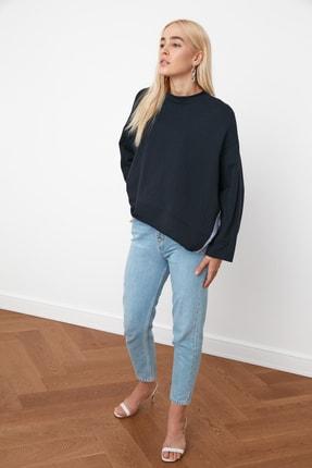 TRENDYOLMİLLA Lacivert Renk Bloklu Salaş Örme Sweatshirt TWOSS20SW0087 3