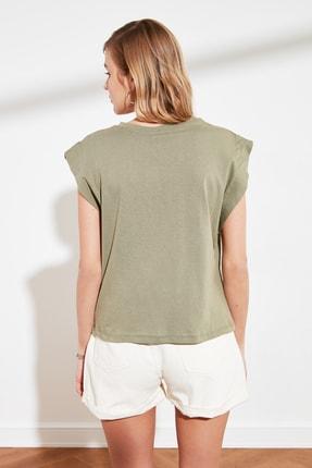 TRENDYOLMİLLA Haki Kolsuz Basic Örme T-Shirt TWOSS20TS0021 4
