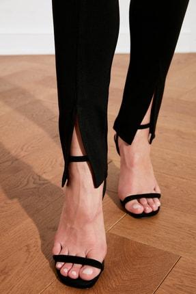 TRENDYOLMİLLA Siyah Yırtmaçlı İnterlok Örme Pantolon TWOAW21PL0263 3