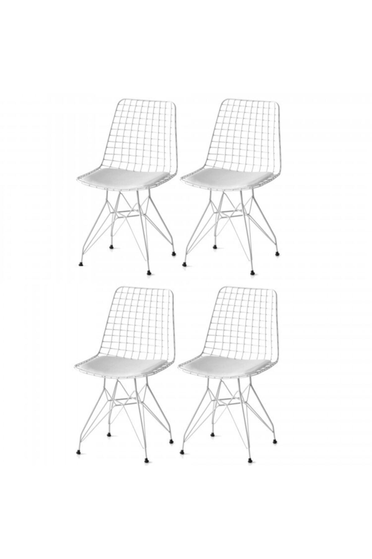 Tel Sandalye Seti (4lü Beyaz)