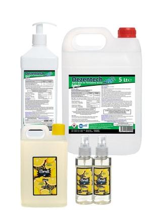 dezentech Hijyen Paketi Alkol Bazlı El Temizleme Sıvısı 5lt+ 500ml & Ebruli Limon Kolonyası 1lt+ 2 Adet 100 ml 0