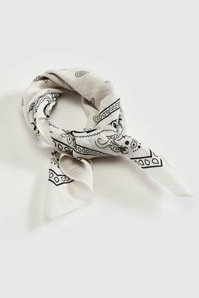 Kirik Beyaz Desenli Fular S1DG50Z8