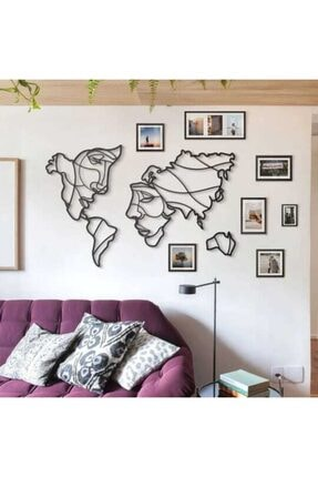 wood design world Ahşap Dekoratif Face World Map Duvar Dekoru Tasarım Tablo 1