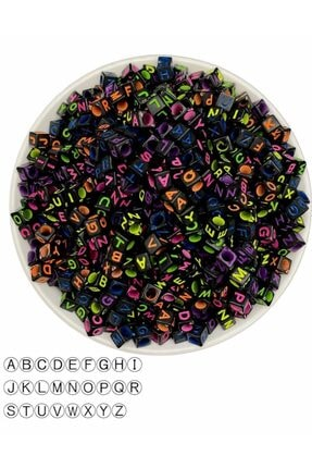 Hedef Bijuteri 6mm Küp Siyah Zemin Üzerine Renkli Harf Boncuk,alfabe Boncuk (100gr,~750 Adet) 1