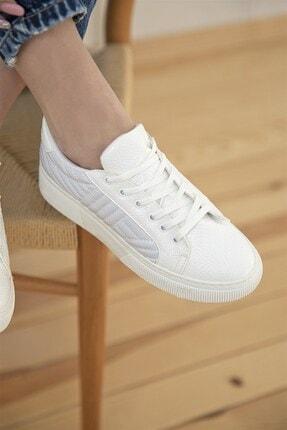 Straswans Kadın Beyaz Rugan Spor Ayakkabı 0