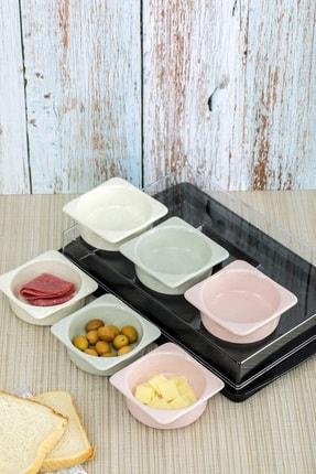 Cooker Shop Seramik 6'lı Lüx Kapaklı Renkli Kahvaltılık Seti 0