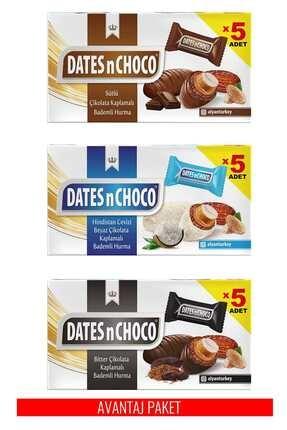 DATESnCHOCO Sütlü + Hindistan Cevizi ve Beyaz Çikolata + Bitter Çikolata Kaplı Hurma 1