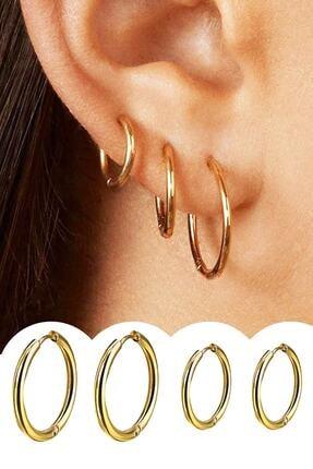 Salyangoz Company Kadın Gold Renk Cerrahi Çelik Halka Küpe 4 Adet 0