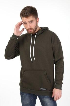 Millionaire Erkek Haki Kapşonlu Oversize Sweatshirt 3