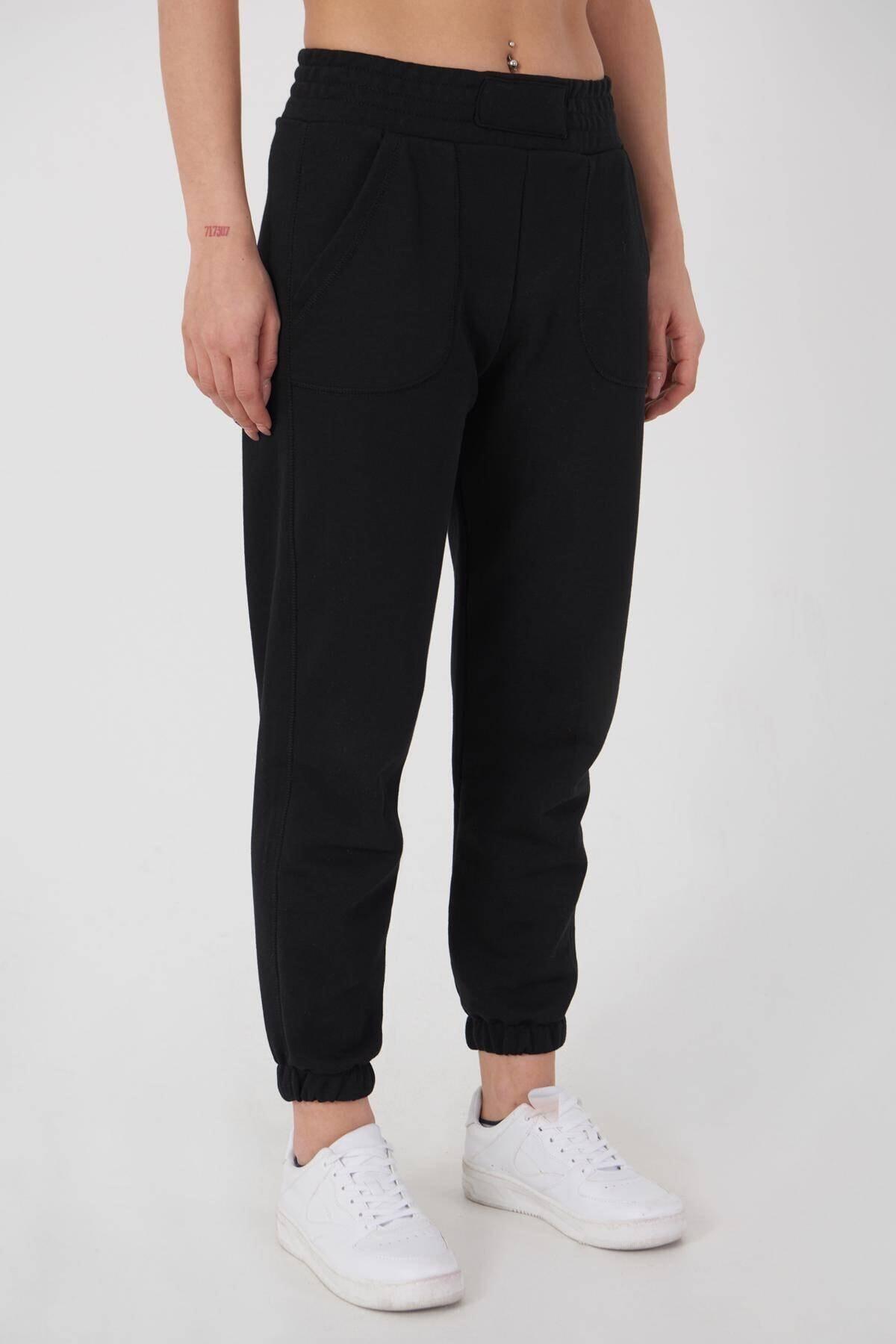 Addax Kadın Siyah Cep Detaylı Eşofman EŞF9498 - L10 ADX-0000023267 4