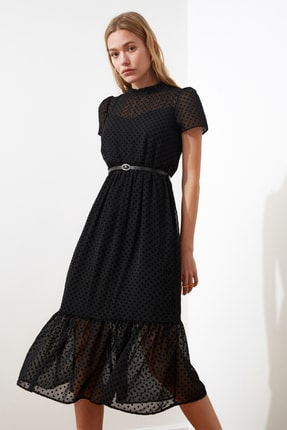 TRENDYOLMİLLA Siyah Kemerli Elbise TWOSS20EL0983 1