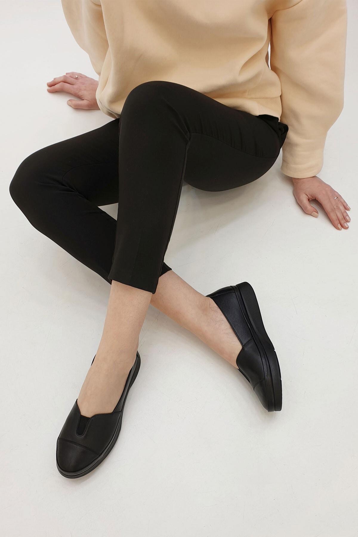 Marjin Kadın Siyah Hakiki Deri Comfort Ayakkabı Meyza 1