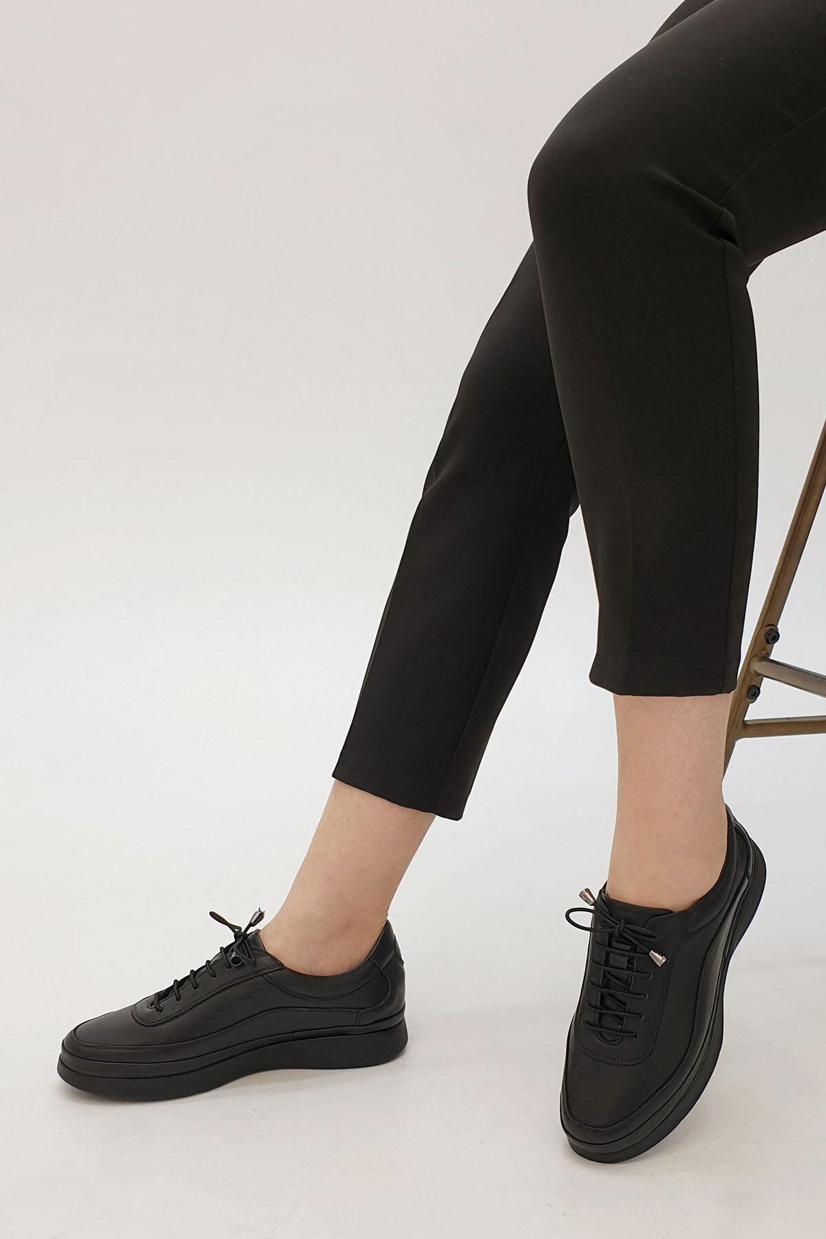 Marjin Sensiva Kadın Hakiki Deri Comfort Ayakkabısiyah 0