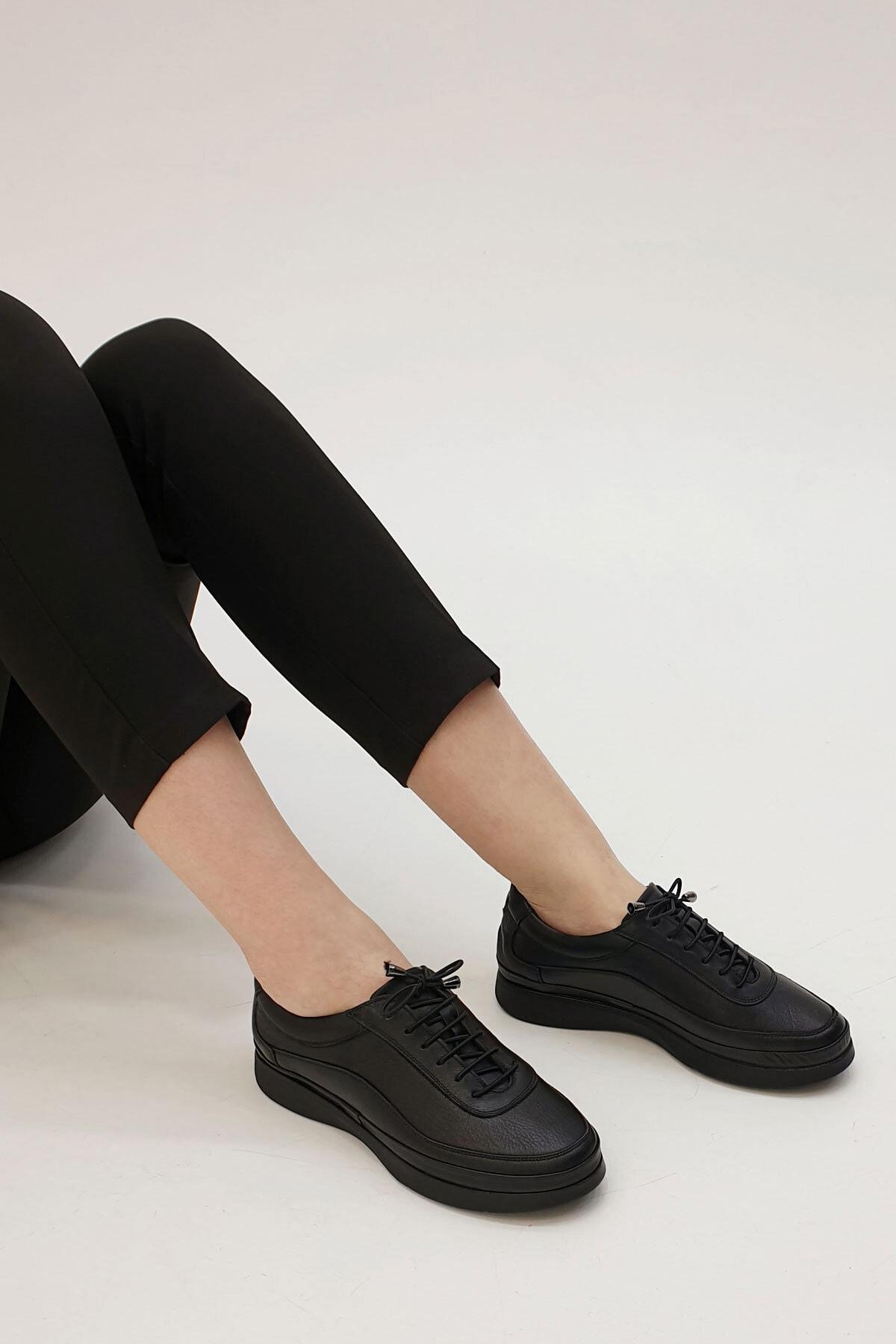 Marjin Sensiva Kadın Hakiki Deri Comfort Ayakkabısiyah 2