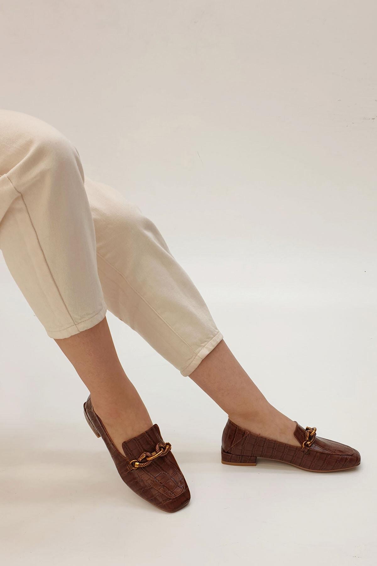 Marjin Kadın Kahve Croco Loafer Ayakkabı Alva 2