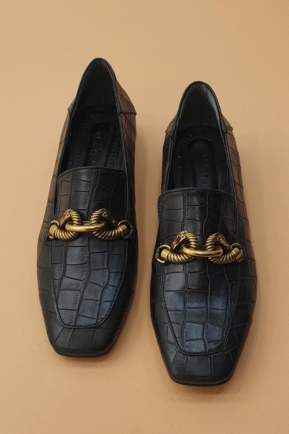 Marjin Kadın Siyah Croco Loafer Ayakkabı Alva 3