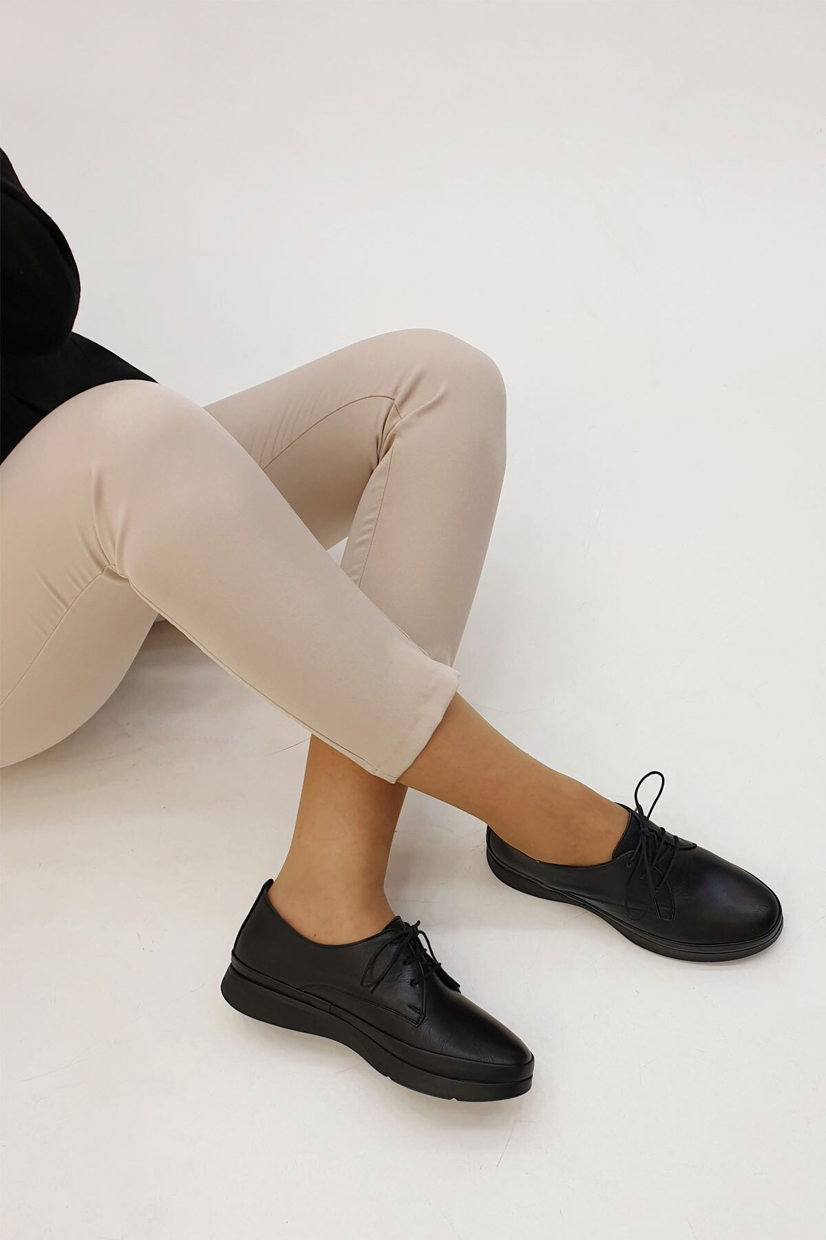 Marjin Porvez Kadın Hakiki Deri Comfort Ayakkabısiyah 0