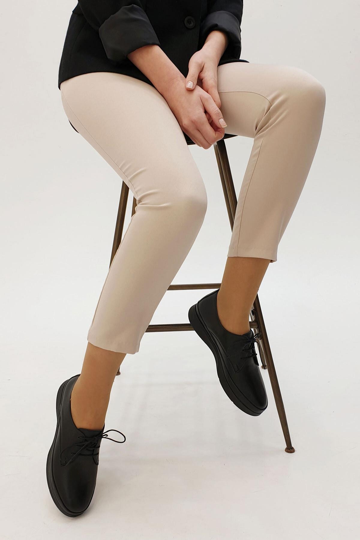 Marjin Porvez Kadın Hakiki Deri Comfort Ayakkabısiyah 1