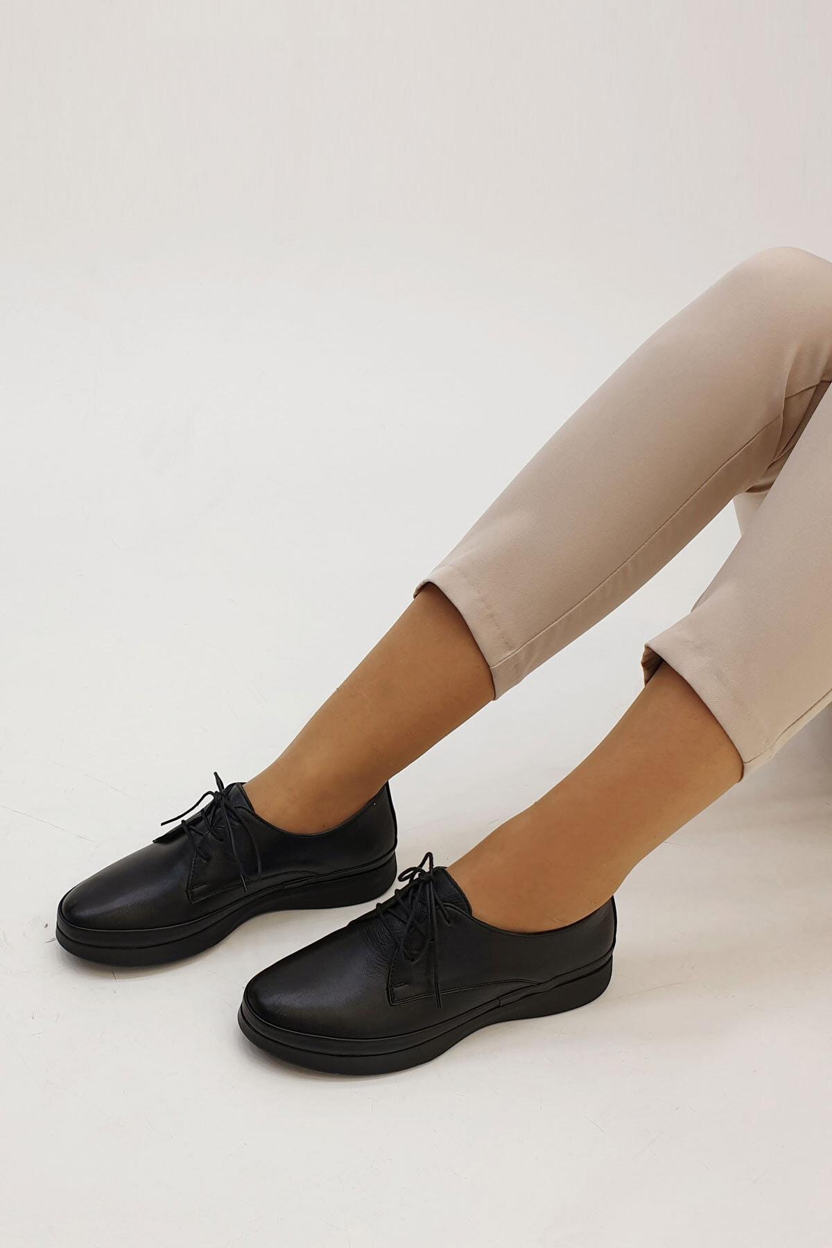 Marjin Porvez Kadın Hakiki Deri Comfort Ayakkabısiyah 3