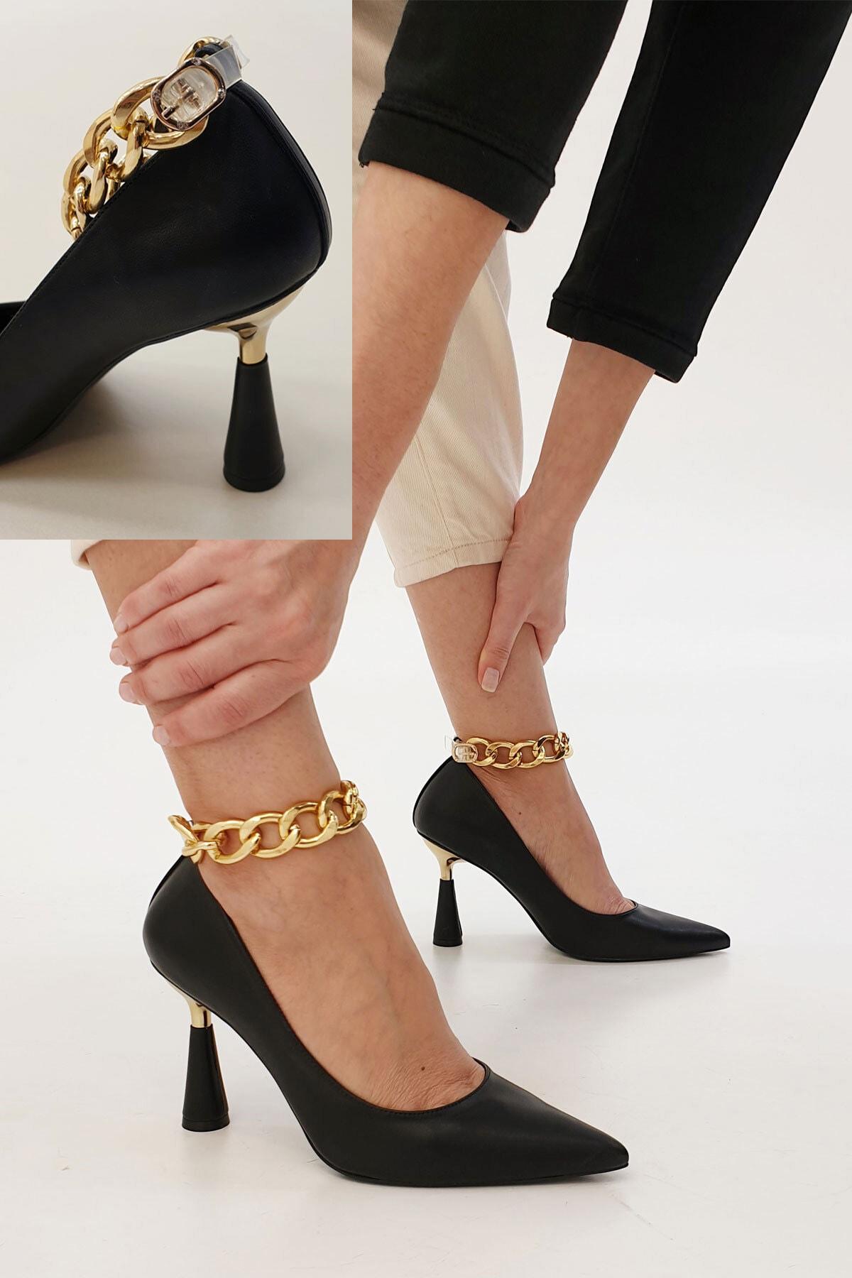 Marjin Kadın Siyah Stiletto Topuklu Ayakkabı Nazita 0