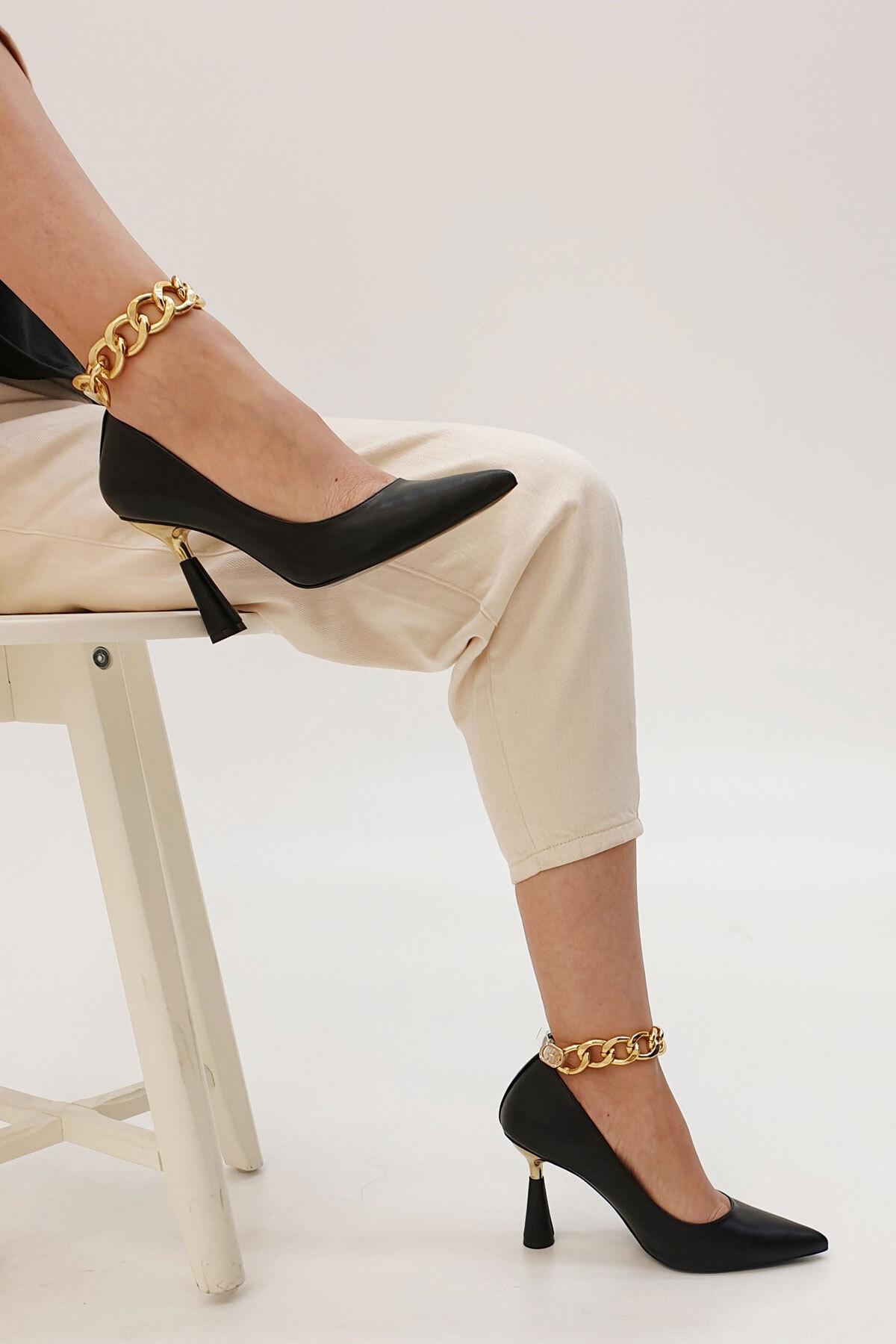 Marjin Kadın Siyah Stiletto Topuklu Ayakkabı Nazita 2