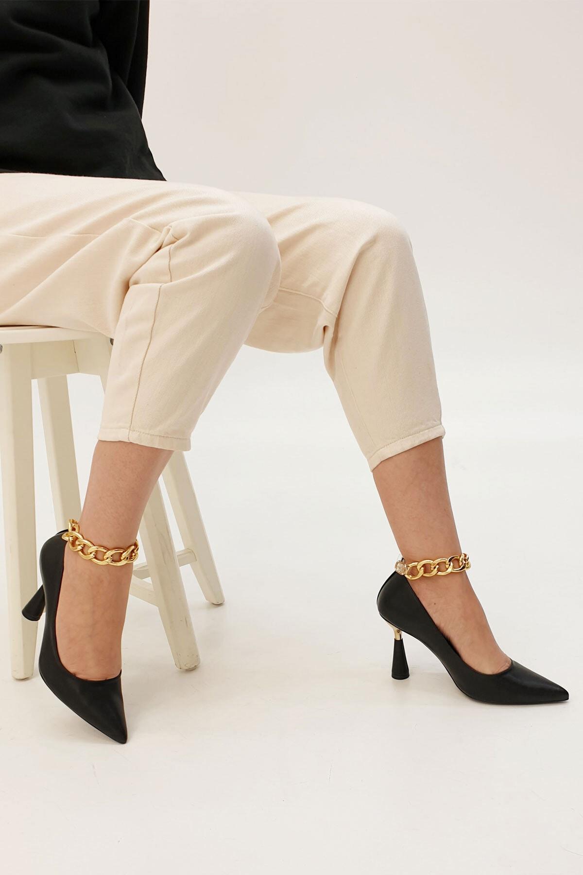 Marjin Kadın Siyah Stiletto Topuklu Ayakkabı Nazita 3