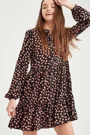 Defacto Kadın Siyah Volan Detaylı Dokuma Gömlek Elbise 1