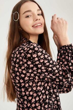 Defacto Kadın Siyah Volan Detaylı Dokuma Gömlek Elbise 2