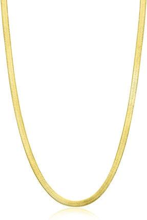 VELCCİ 40cm Kadın Gümüş Zincir 2/3/4/5/6/7mm 925 İtalyan Yassı Altın/Silver/Rose Kaplama Özel Ezme Kolye 0