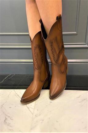 OKATLAR AYAKKABI Kadın Kahverengi Kovboy Çizme 1