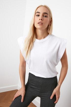 TRENDYOLMİLLA Beyaz Kolsuz Basic Örme T-Shirt TWOSS20TS0021 3