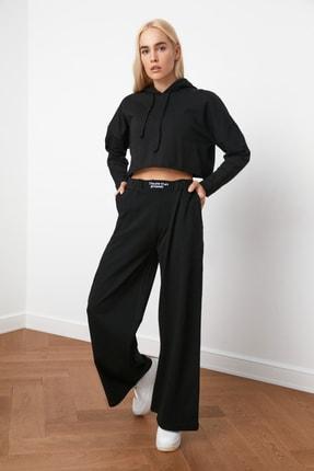 TRENDYOLMİLLA Siyah Nakışlı Wide Leg Örme Pantolon TWOAW21PL0349 2