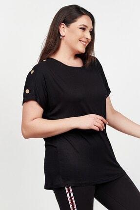 Womenice Kadın Siyah Kolu Düğme Detaylı Büyük Beden Bluz 2