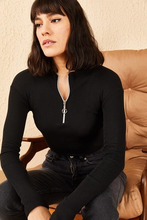 Bianco Lucci Kadın Fermuarlı Kaşkorse Bluz 1