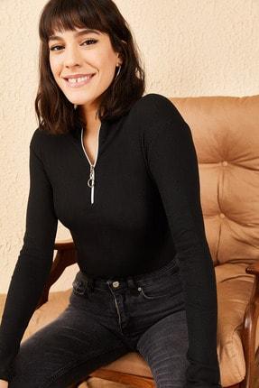 Bianco Lucci Kadın Fermuarlı Kaşkorse Bluz 2