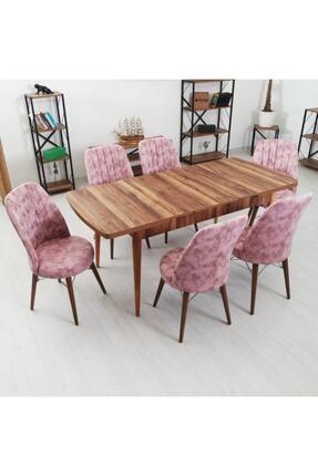 Inci Serisi 6 Kişilik Masa Takımı -kelebek Açılır Yemek Masası + 6 Adet Sandalye 6 KİŞİLİK MASA TAKIMI AHŞAP