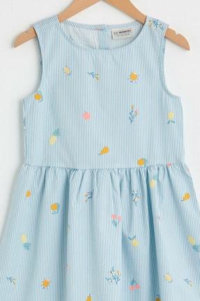 LC Waikiki Kız Çocuk Mavi Çizgili Len Elbise 2