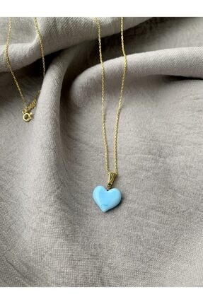 Vetro Arte Altın Kaplama 925 Ayar Gümüş El Yapımı Cam Mavi Kalp Kolye 0