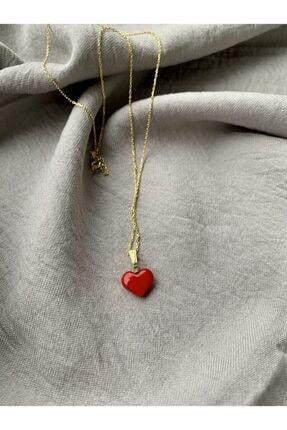 Vetro Arte Altın Kaplama 925 Ayar Gümüş El Yapımı Cam Kırmızı Kalp Kolye 0