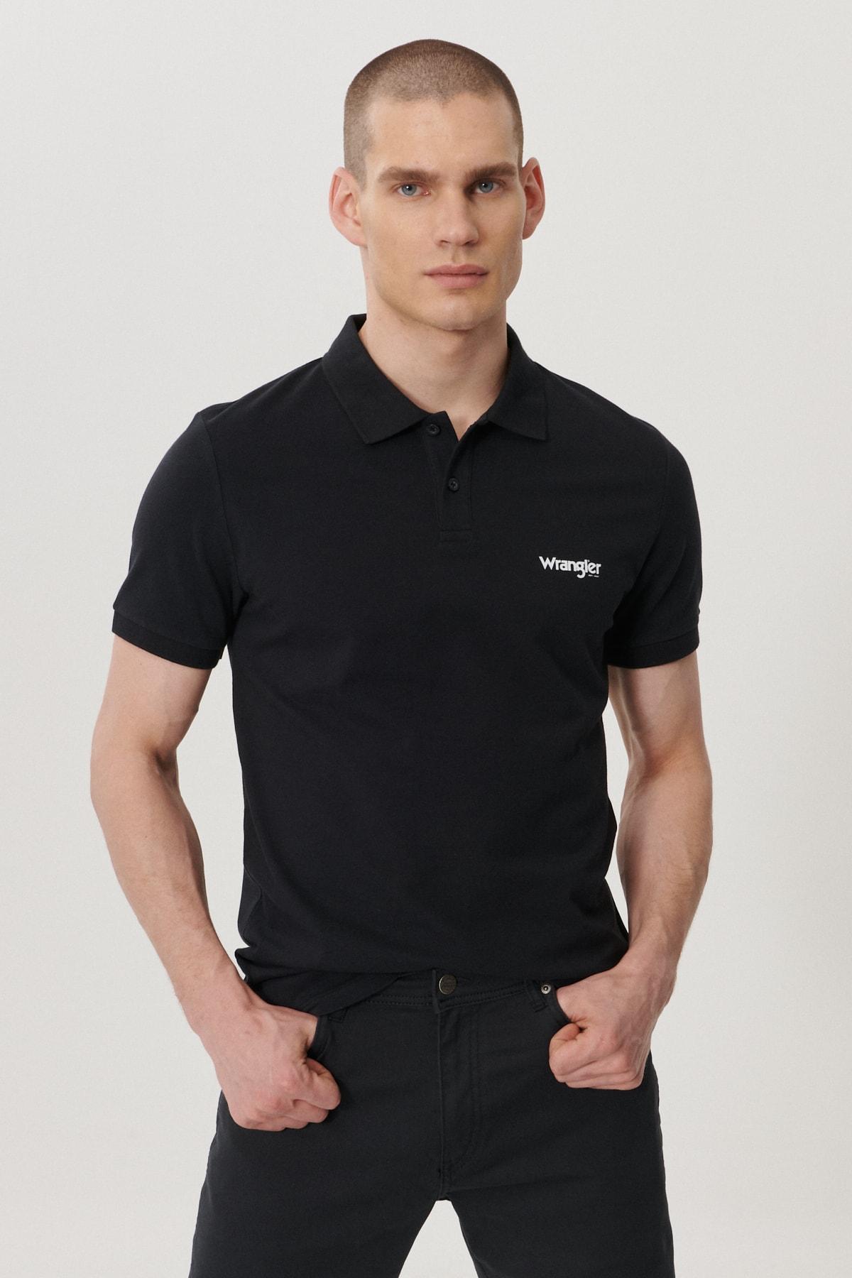 Wrangler Erkek Siyah Regular Fit Polo Yaka T-Shirt 0