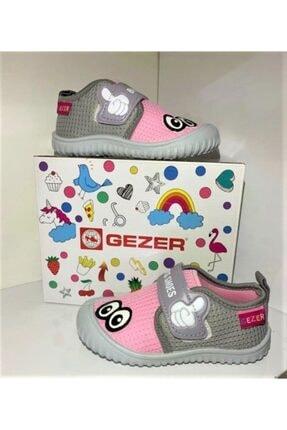 Gezer Kız Çocuk Pembe Gri Keten Anaokulu Kreş Ev Ayakkabısı 2