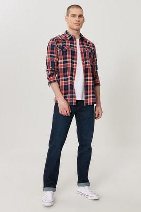 Wrangler Texas Slim Erkek Koyu Mavi Slim Normal Bel Dar Paça Esnek Jean Pantolon 0