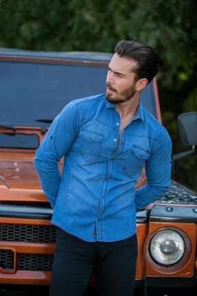 BAYEFENDİ Açık Mavi Cepli Kot Gömlek Slim Fit 1