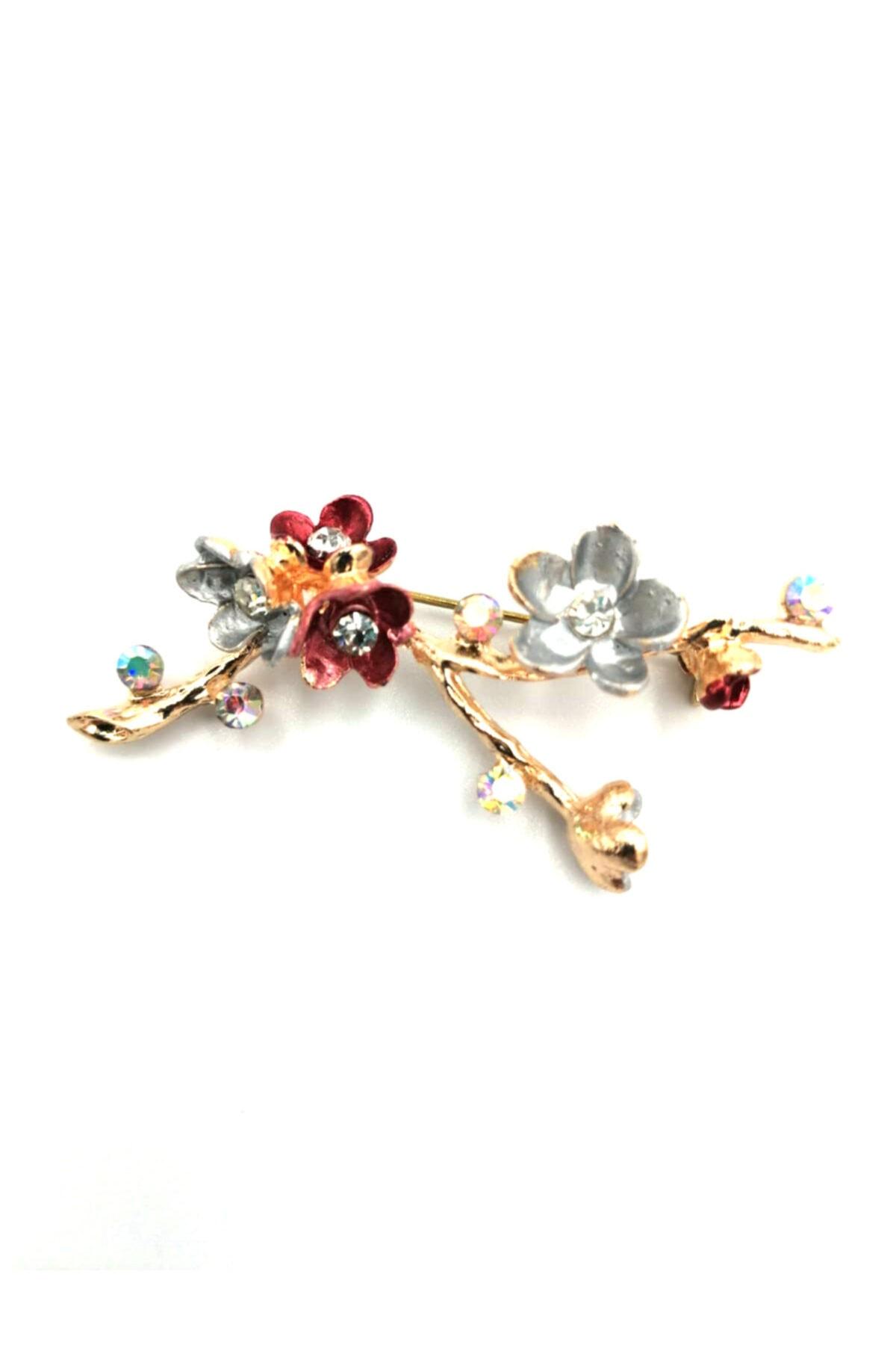 Mineli Çiçek Broş Vintage
