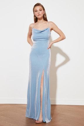 TRENDYOLMİLLA Mavi Askı Detaylı Abiye & Mezuniyet Elbisesi TPRSS19UT0102 3