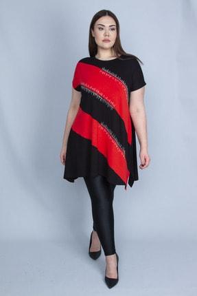 Şans Kadın Kırmızı Renk Kombinli Taş Detaylı Tunik 65N23129 3