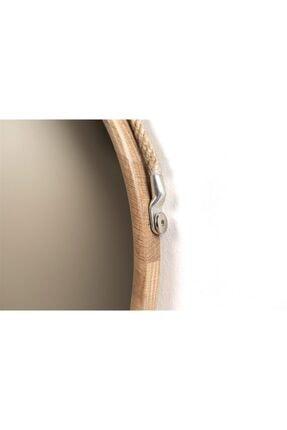 Fold&Go Capella Ayna - Halat Askılı Ayna - Dekoratif Ayna - Yuvarlak Ayna - Ahşap Çerçeveli Ayna -gümüş Ayna 3